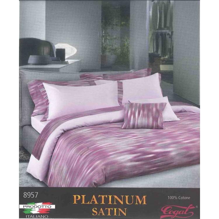 Copripiumino Matrimoniale Satin.Duvet Set Cogal Platinum Satin 8957